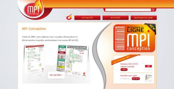 Page d'accueil du site MPI Conception